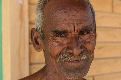 A French woman fell in love with her Indina guide and built her home on the edge of a dry lake 50 km out of Jaisalmer. We went to visit and were invited to tea by this guy who is looking after her home while she is away.