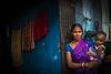 Woman in purple sari