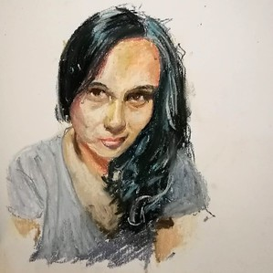 Self portrait, pastel on paper