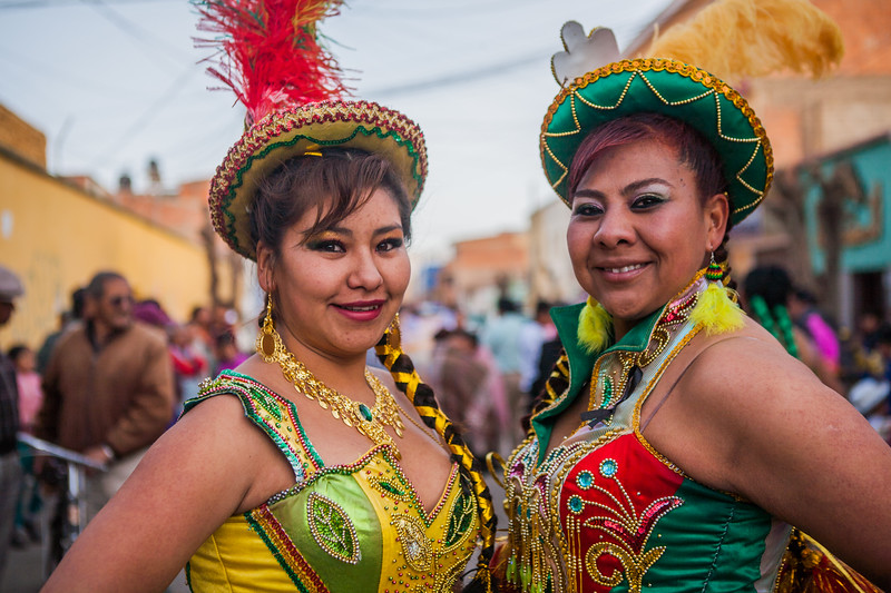 Women posed during festival of Virgin of Guadalupe in Tupiza, Bolivia