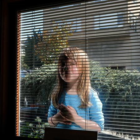 Larkin at the study window, Clifford Terrace