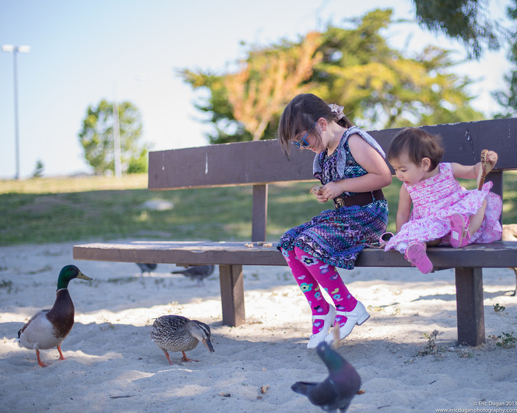 Feeding The Ducks With Big Sister