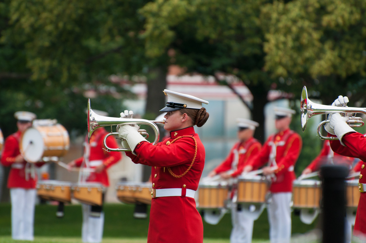 US Marine Band performing at Marine Corps War Memorial