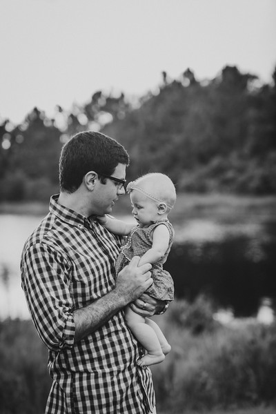 Father and Daughter, in Black and White