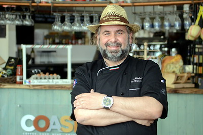 Top professional Italian chef Michele de Vincenzo. Shot for Swansea Life magazine