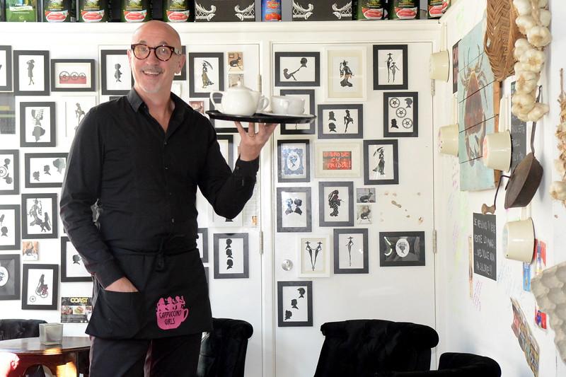 Portrait of Radio BBC Wales presenter and musician, Mal Pope.