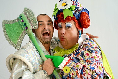 Pantomime portrait -  Jack and the Beanstalk cast member,  Louie Spense as Spirit of the Beans and radio presenter, Kevin Johns as Dame Trot.