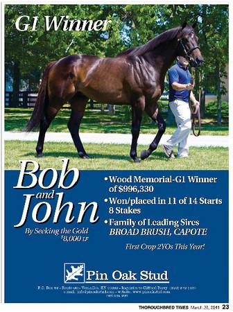 Bob & John, Pin Oak Stud ad in Thoroughbred Times 3.28.2011