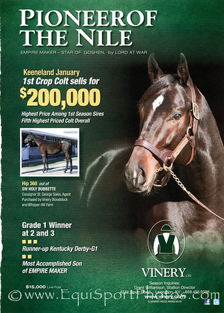 Pioneerof the Nile, Vinery ad in Blood-Horse 01.21.2012