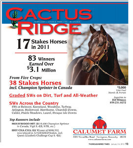 Cactus Ridge, Calumet Farm ad in the Blood-Horse and the Thoroughbred Times, 1.14.2012