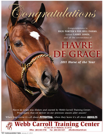 Havre de Grace, Webb Carroll ad in the Thoroughbred Times, 01.21.2012