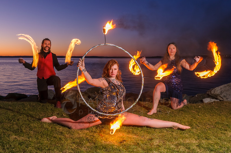 Strike a Pose - Fire dancers Ignus Amar'e, Tettra Hydra, and Ericka Baumgarter of Everlife Entertainment performing tricks on Wednesday evening Jan. 4, 2016, at Boulevard Park in Bellingham, Wash. (© Paul Conrad/Paul Conrad Photography)