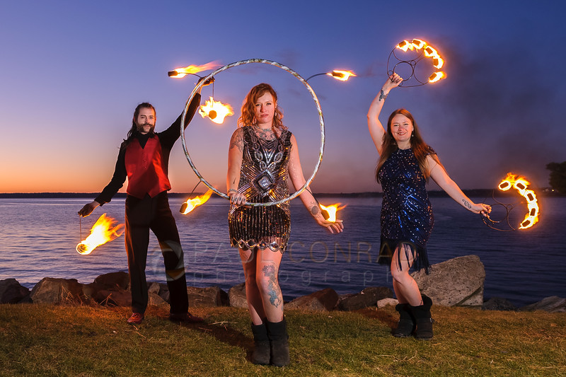 Trio of Fire - Fire dancers Ignus Amar'e, Tettra Hydra, and Ericka Baumgarter of Everlife Entertainment performing tricks on Wednesday evening Jan. 4, 2016, at Boulevard Park in Bellingham, Wash.