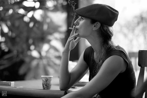 Olesya, the MUA, taking a smokie break