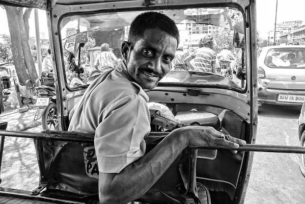 © 2011 KT WATSON Auto-rickshaw driver in Jaipur, India