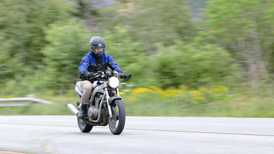 Noah White on Motorcycle in Corner Brook