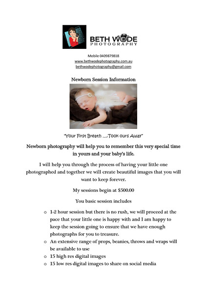 Newborn Session Information Page 1/2