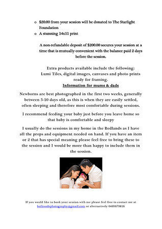 Newborn Session information Page 2/2