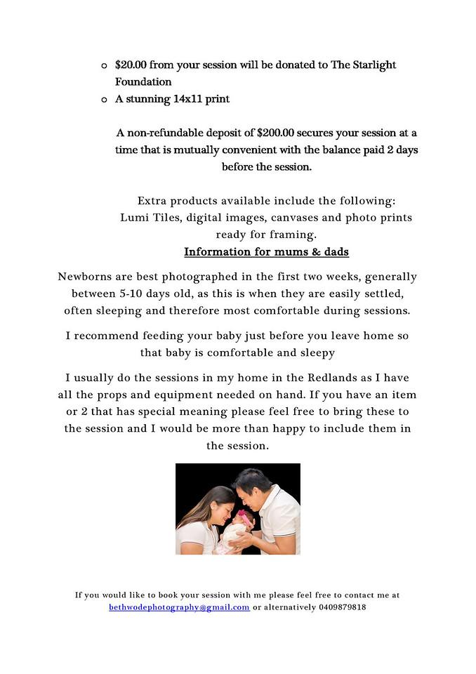 Newborn Session information Page 2/2