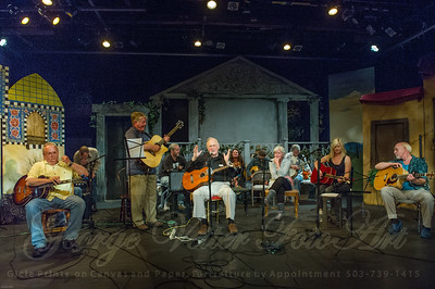 "Sandcastle Concert at Coaster Theatre. Peter Dueber, Bob ""Bobcat"" Rice, Jay Speakman, Paul Dueber, Mike Costello, Bill Steidel, Maggie Kitson, Richard Thomasian, Margo Dueber, Bill Gaylord, Julie Adams, Ken Hardy"