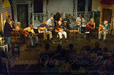 "Sandcastle Concert at Coaster Theatre. Peter Dueber, Michael Corry, Bob ""Bobcat"" Rice,  Paul Dueber, Bill Steidel, Mike Costello, Maggie Kitson, Richard Thomasian, Margo Dueber, Jay Speakman, Bill Gaylord, Julie Adams, Ken Hardy"