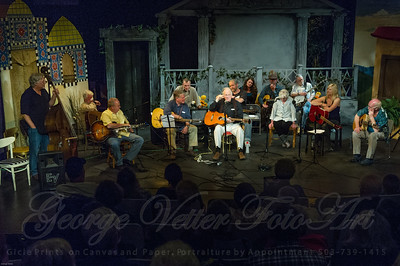 "Sandcastle Concert at Coaster Theatre. Peter Dueber, Michael Corry, Bob ""Bobcat"" Rice, Jay Speakman, Paul Dueber, Bill Steidel, Mike Costello, Maggie Kitson, Richard Thomasian, Margo Dueber, Bill Gaylord, Julie Adams, Ken Hardy"