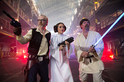 Adam Savage, Sophia Bush, and Jaime Heineman in the Starwars/Mythbusters collaboration show