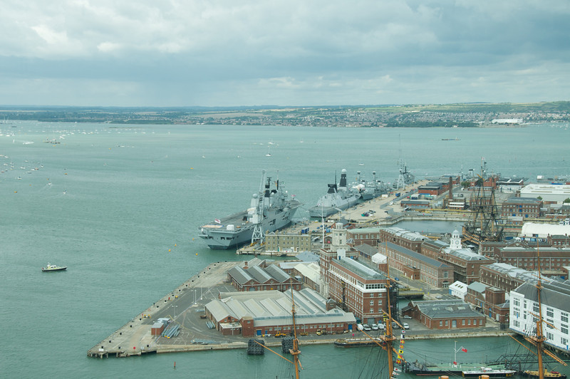 Partial view of Portsmouth naval shipyard from Spinnaker tower.