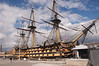 The HMS Victory - completed in 1765, commissioned in 1778.  104 guns.  Crew at Trafalgar = 821.