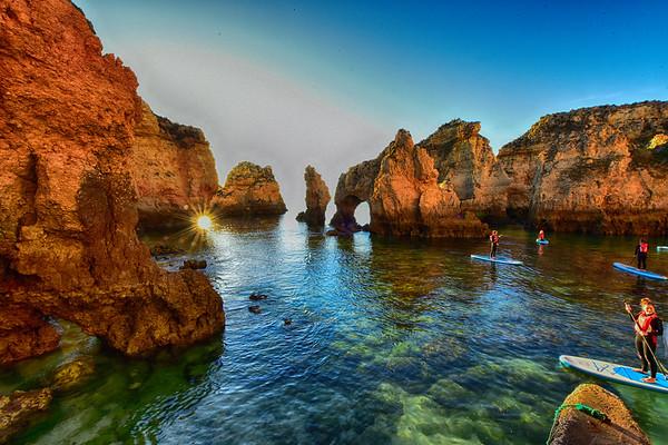 Sunrise thru the rocks of Lagos - Copy