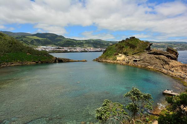 Wide angle view of island and mainland