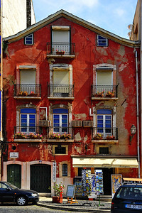 A red painted building in the Alfama, Lisboa, Portugal