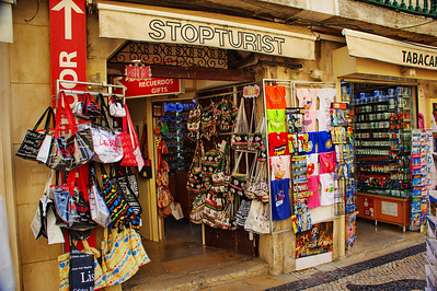 Souvenir shops line the mall.  Get a look at the sign above the door.