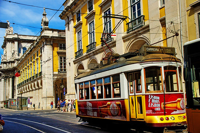 Cable cars provide transportation through the Alfama section