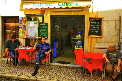 Coffee with friends in Lisbon's Alfama neighborhood