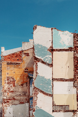 The side of a destroyed house in Nazare