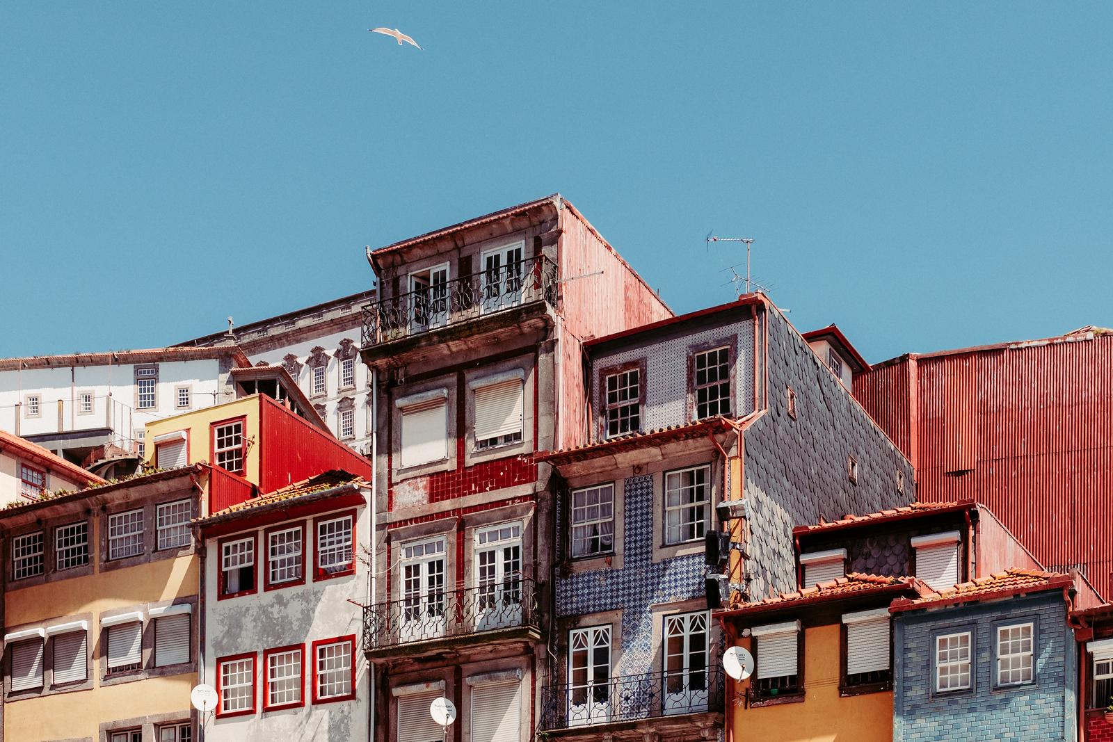 Buildings around the Port of Ribeira Square in Porto