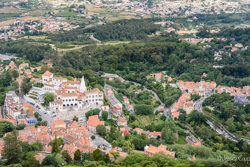 View of the Palace of Sintra and the Town of Sintra