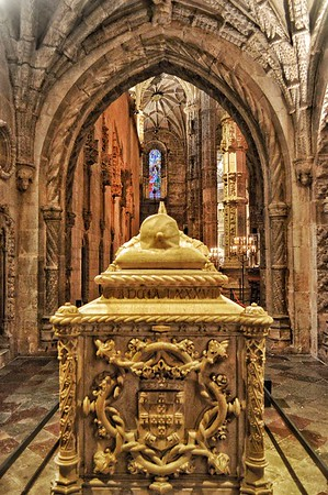 """Grandiose Ideas, Daring Men, and Small Ships on Big Oceans"" - Tomb of Vasco da Gama,  Portuguese explorer and the first European to reach India by sea - Igreja Santa Maria de Belém - Lisboa, Portugal"
