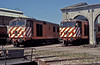 "CP English Electric ""mini-fifties"" are seen at Barreiro depot on 16 May 1991. These locos alone were responsible for many holidays on the Algarve!"