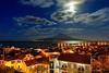 Açores-Faial-Horta harbor and Mt. Pico under a full moon
