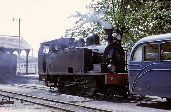 CP 4-6-0T E123, Santa Comba Dao, August 1972.  One of four built by Borsig in 1908 for the Vale do Vouga Railway, which included the Dao line, where they spent their entire lives.  E123 is preserved at Macinhata do Vouga.  Photo by Les Tindall.