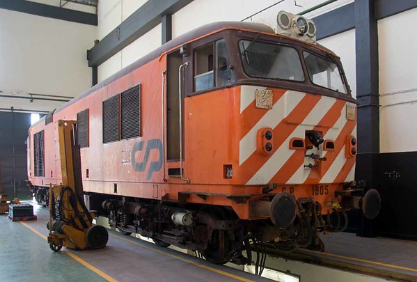 Preserved CP 1805, Entroncamento traction depot, 20 May 2016 1.  The last survivor of ten locos based on the BR class 50 supplied by English Electric to Portugese Railways (CP) in 1968.  It is now owned by the Portugese Railwy Museum.  It last worked in 2002.  It should have worked a PTG tour from Lisbon to the Algarve in May 2016 but was unavailable.
