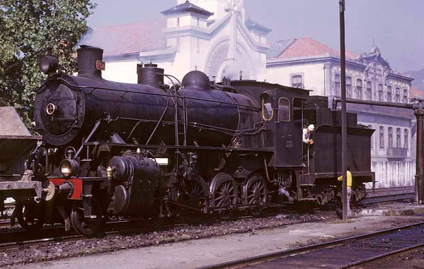 CP 2-8-0 754, Regua, August 1972 1.  Built by Schwartzkopf in 1913 and at the time of this photo the last compound at work on CP.  Now preserved at Entroncamento.  Photo by Les Tindall.