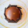 Spiced Caramel Bombe | crème fraiche mousse, caramel, spiced peach, honey bourbon bubble