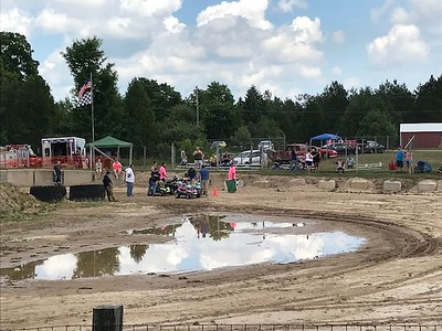 The mud puddle would play a role in today's racing.