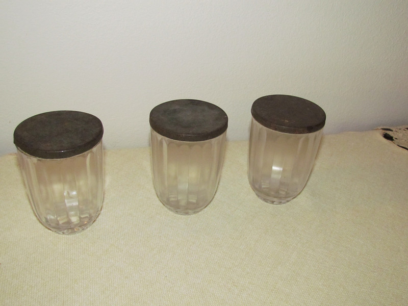 3 glass jars with metal lids, probably from Charles' Block side of the family.  Belonged to J&CHB, To Shirley 2010.