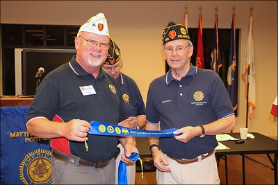 Toni Berenotto, Division 2 Commander presents Family Ribbon to Ron Koonce,  SAL Advisor/Adjutant , Sons of The American Legion Squadron 555.
