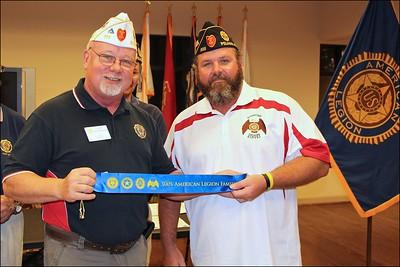 Tony Berenotto, Division 2 Commander presents Family Ribbon to Jeff Monday, Director, Legion Triple Nickel Riders