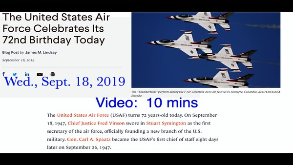 Video:  10 mins - Air Force Retreat, Post 211, Wed., Sept. 18, 2019